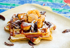 Banana-Pecan and Caramel Waffles Stock Photography