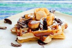 Banana-Pecan and Caramel Waffles Royalty Free Stock Image
