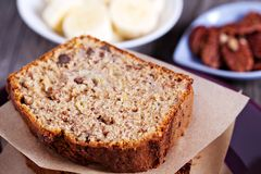 Banana Pecan loaf cake Stock Photography