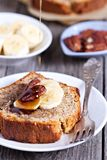 Banana Pecan loaf cake Stock Photo