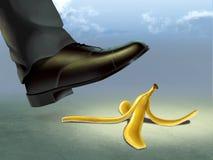 Banana peel. Businessman about to slip on a banana peel. Digital illustration Stock Photo