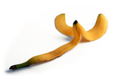 Banana peel. Fruit peel isolated on the floor. Royalty Free Stock Images