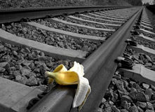 Banana peel on railway.  Train Sabotage  humoristic conceptual image Stock Photo