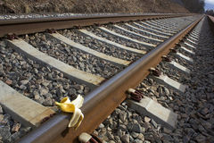 Banana peel on railway.  Train Sabotage  humoristic conceptual image Royalty Free Stock Images