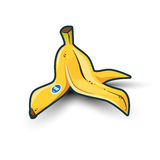 Banana Peel with Shadow. Illustration of  yellow banana peel on white background with shadows Stock Photos