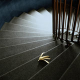 Banana peel on stairs Stock Photo