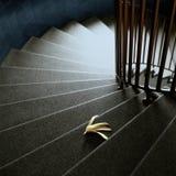 Banana peel on stairs Stock Photo