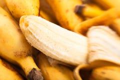 Banana peeled. Macro closeup focus Stock Images