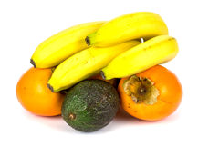 Banana persimmon and avocado! Royalty Free Stock Images