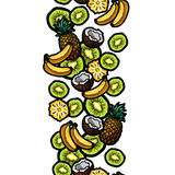 Banana, pineapple, kiwi and coconut mix seamless border strip. Vector illustration. Royalty Free Stock Images