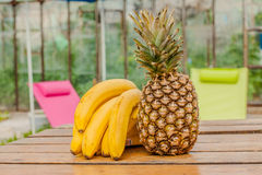 Banana pineapple set Stock Photos