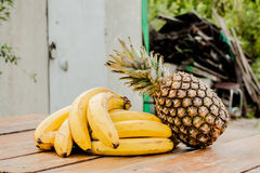Banana pineapple set Stock Images