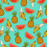 Banana, pineapple, and watermelon slices seamless pattern, fruit background. Drawing  on a blue , cartoon. For the. Banana, pineapple, and watermelon slices Royalty Free Stock Images