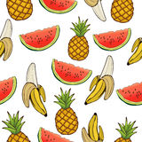 Banana, pineapple, and watermelon slices seamless pattern, fruit background. Drawing  on a white , cartoon. For the Stock Images