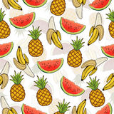 Banana, pineapple, and watermelon slices seamless pattern, fruit background. Drawing  on a white , cartoon. For the design of the Stock Photo
