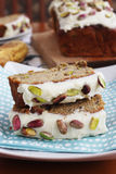 Banana & pistachio loaf Stock Photo
