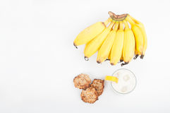 Banana products on white background. Bananas, banana smoothie and banana cookies isolated on white background Royalty Free Stock Photo