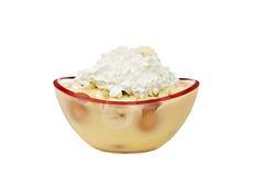 Banana pudding. Isolated on a white background Stock Photo