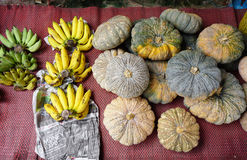 Banana and pumpkin at the market Royalty Free Stock Photography