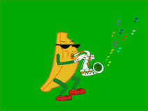 Banana que joga o saxofone Imagens de Stock Royalty Free