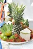 Banana, rambutan, coconut, orange and pineapple in zinc salver Stock Image