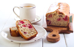 Banana and raspberry cake Royalty Free Stock Images