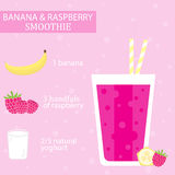 Banana and raspberry milkshake recipe. Royalty Free Stock Photography
