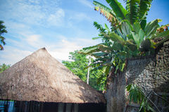 banana roofs, traditional architecture in Bali Royalty Free Stock Photo