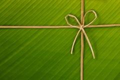 Banana rope and leaf. Ribbon and rope made from banana bark on banana leaf, global warning concept Stock Photos