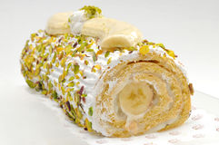 Banana roulade, cake Royalty Free Stock Photos