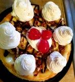 Banana rozszczepiony cheesecake fotografia royalty free