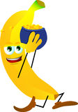 Banana running with a pot of gold Stock Image