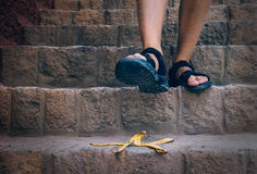 Banana`s Peel Is On The Stairs - Traveler Can Steps On It Stock Image