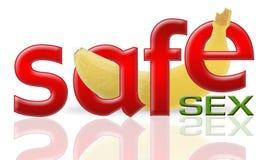 Banana and safe sex. Safe sex concept,3d&computer generated Stock Photos
