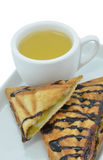 Banana sandwiches with tea. Royalty Free Stock Image