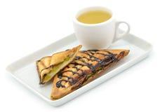 Banana sandwiches with tea. Royalty Free Stock Photo