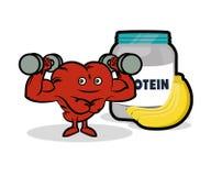 Banana saudável da proteína do coração da aptidão ilustração do vetor