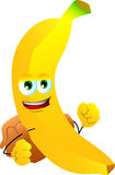 Banana with school bag Royalty Free Stock Photo