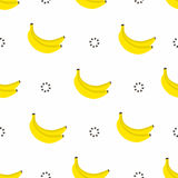 Banana seamless pattern. Bananas with circles in 80s style, textile graphic. Vector Stock Photography