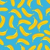 Banana seamless pattern blue background Stock Photography