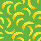 Banana seamless pattern on green background. Tropical fruits wallpaper. Stock Images