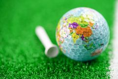 Banana with section fruit food on white backgroundGolf globe world ball with USA flag on green lawn or field : most popular sport. Golf globe world ball with USA royalty free stock photo