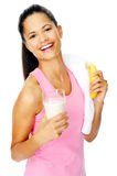 Banana shake woman Stock Image