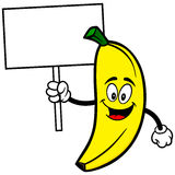 Banana with Sign Royalty Free Stock Image