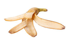 The Banana skin. On the white background Royalty Free Stock Images