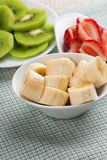 Banana sliced in bowl Royalty Free Stock Photos