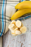 Banana sliced in bowl Royalty Free Stock Photo