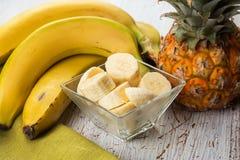 Banana sliced in bowl Stock Image