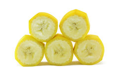 Banana slices. Circules of banana isolated on a white background stock images