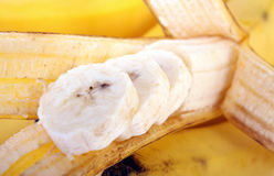 Banana slices. Close-up of a banana slices royalty free stock photography